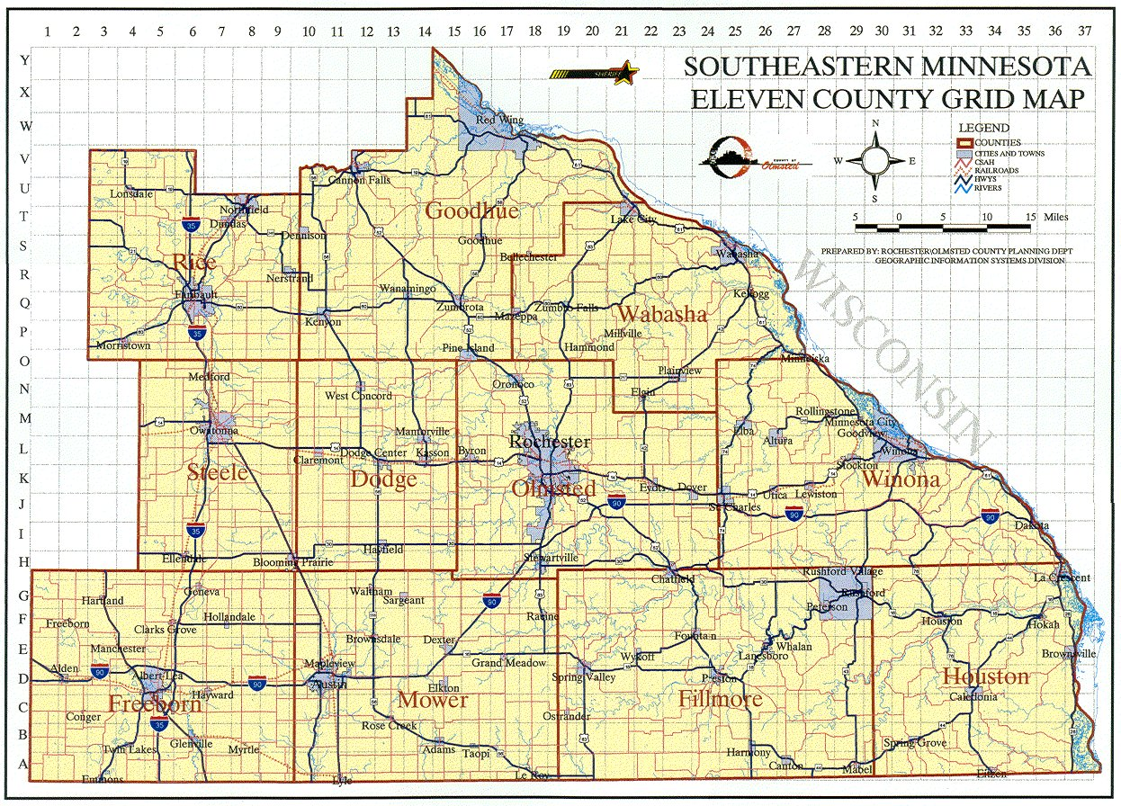 Emergency Management Grid Maps - County maps of minnesota